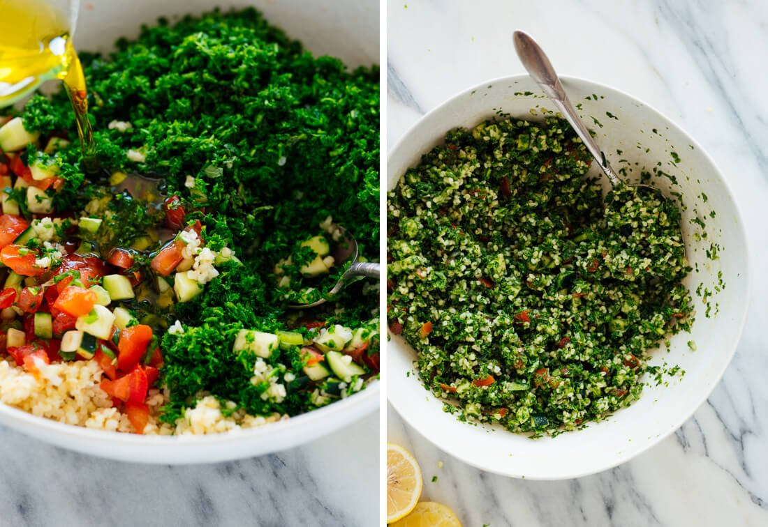 tabbouleh, before and after stirring together