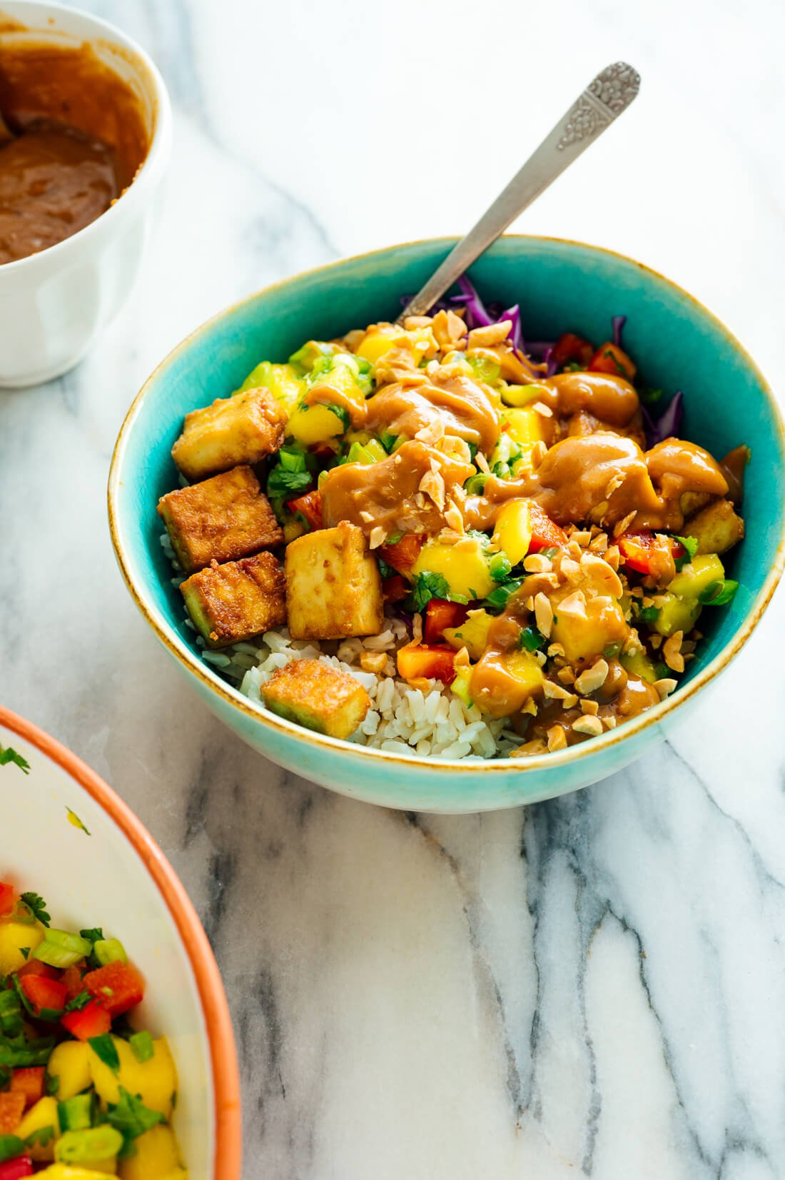 Mango Burrito Bowls with Crispy Tofu and Peanut Sauce