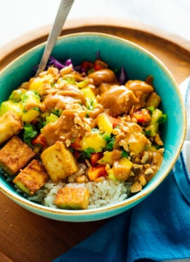 "Mango ""Burrito"" Bowls with Crispy Tofu and Peanut Sauce"