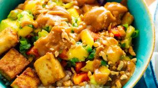 "Mango ""Burrito"" Bowls with Crispy Tofu and Peanut Sauce"