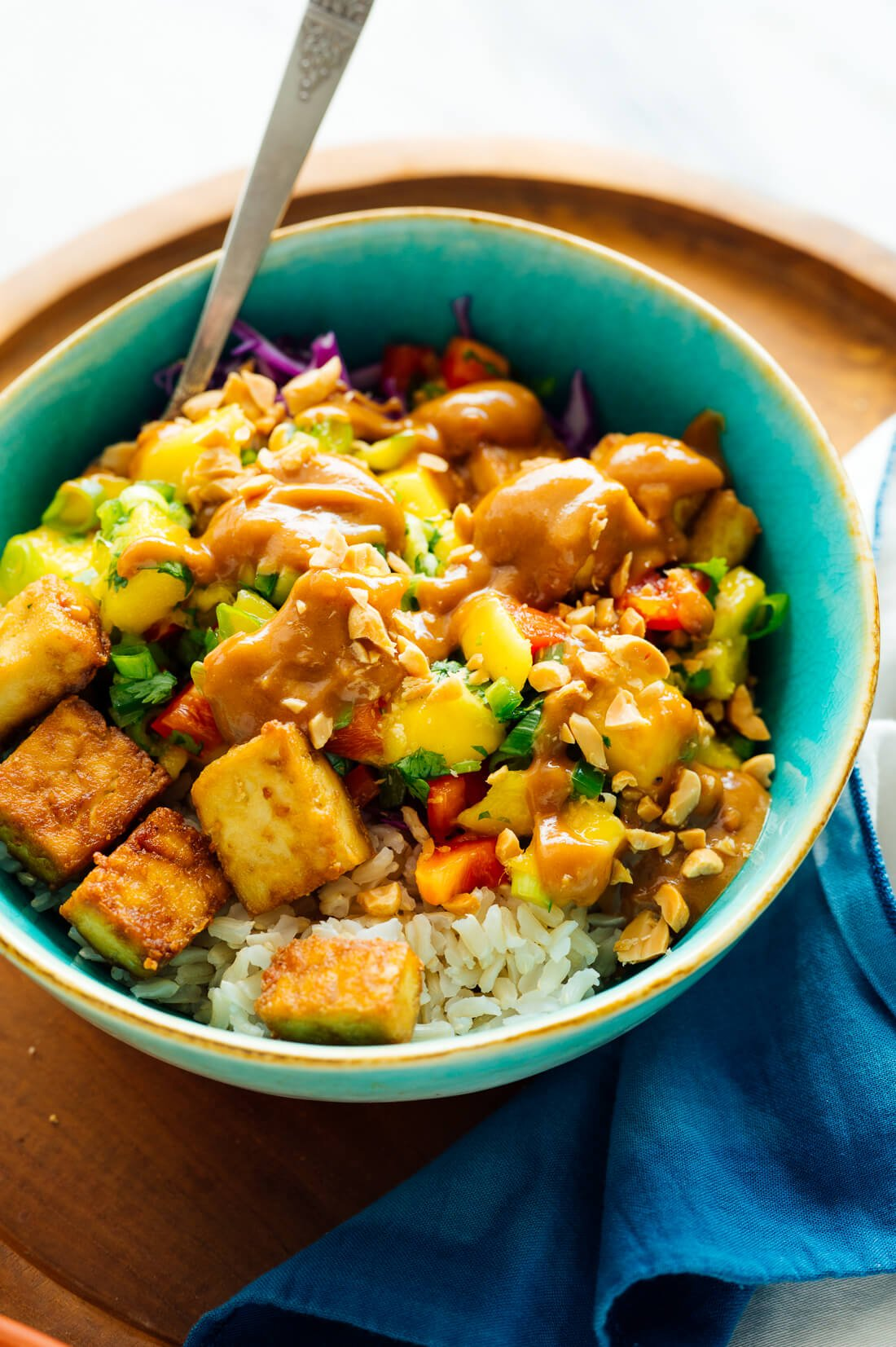 vegan mango tofu rice bowls