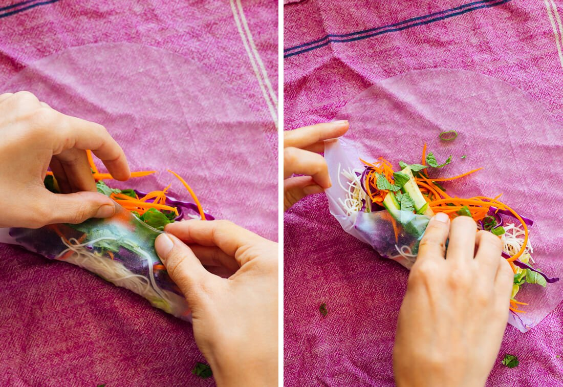 how to roll a spring roll (steps 1 and 2)
