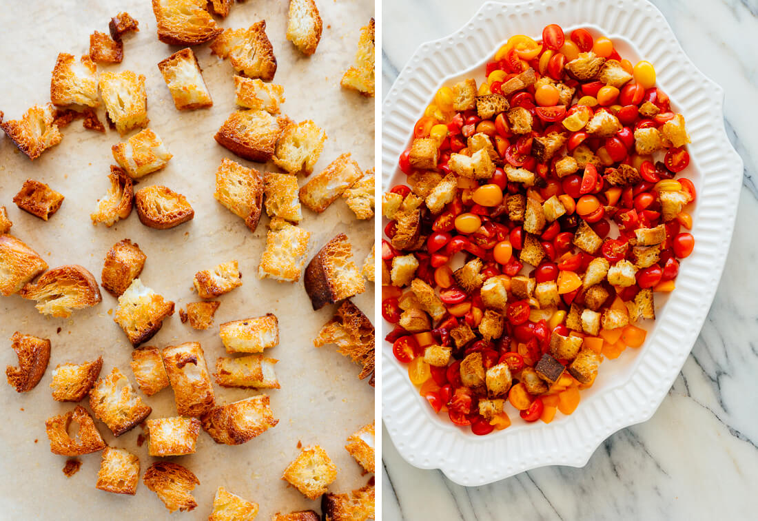 homemade croutons for panzanella