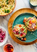 Crispy Bean Tostadas with Smashed Avocado and Jicama-Cilantro Slaw