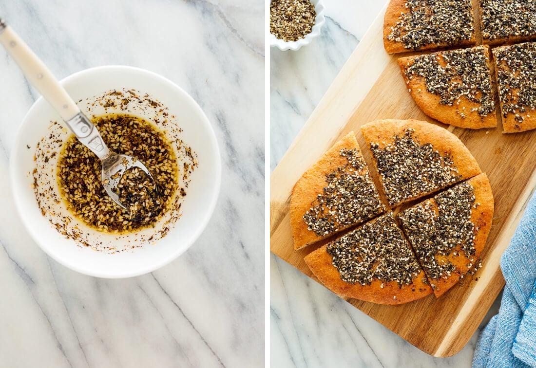 za'atar on pita bread