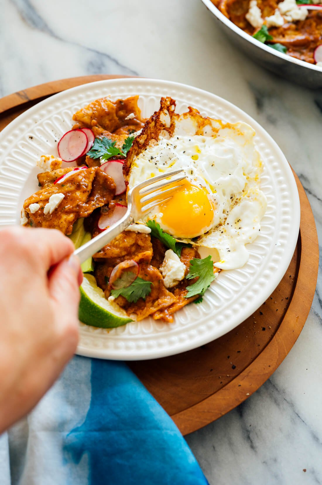 red chilaquiles with fried egg