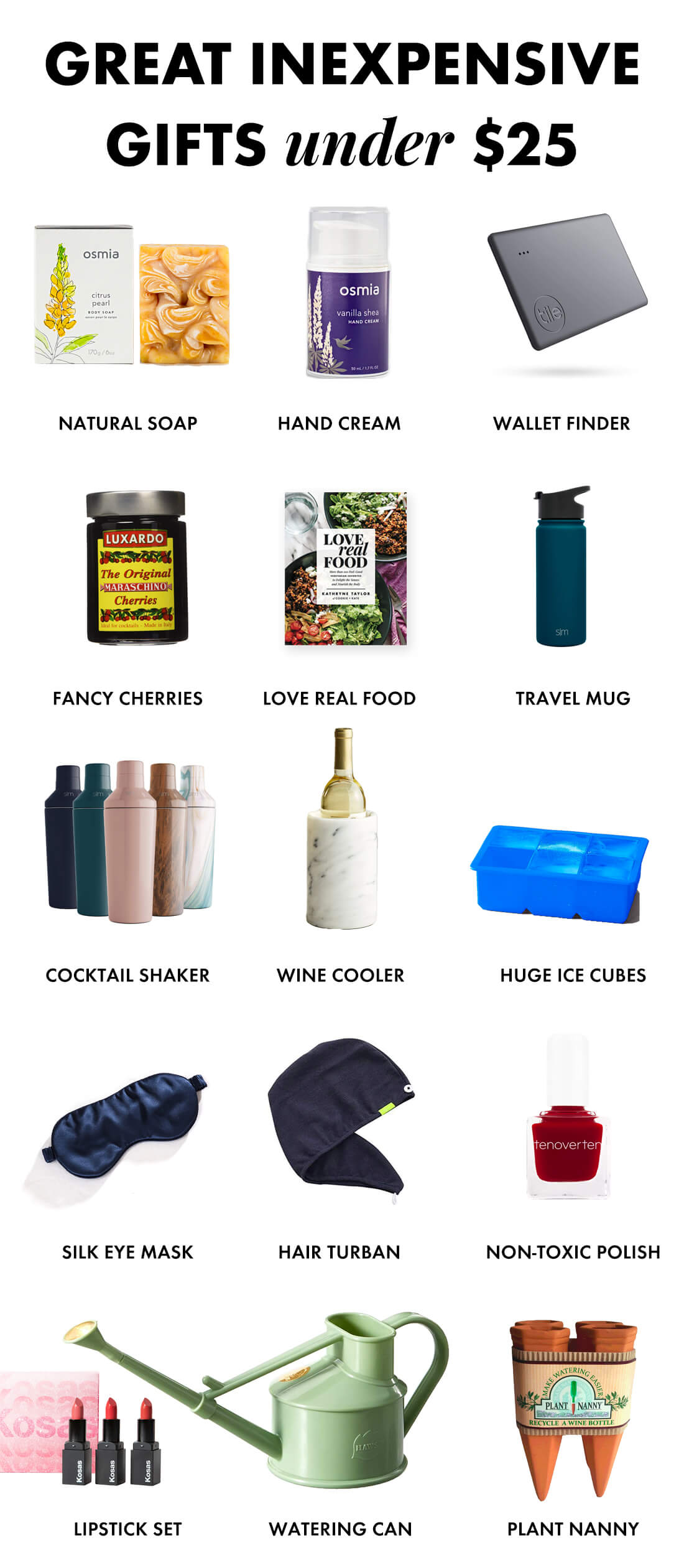 inexpensive gifts under $25 for the holidays
