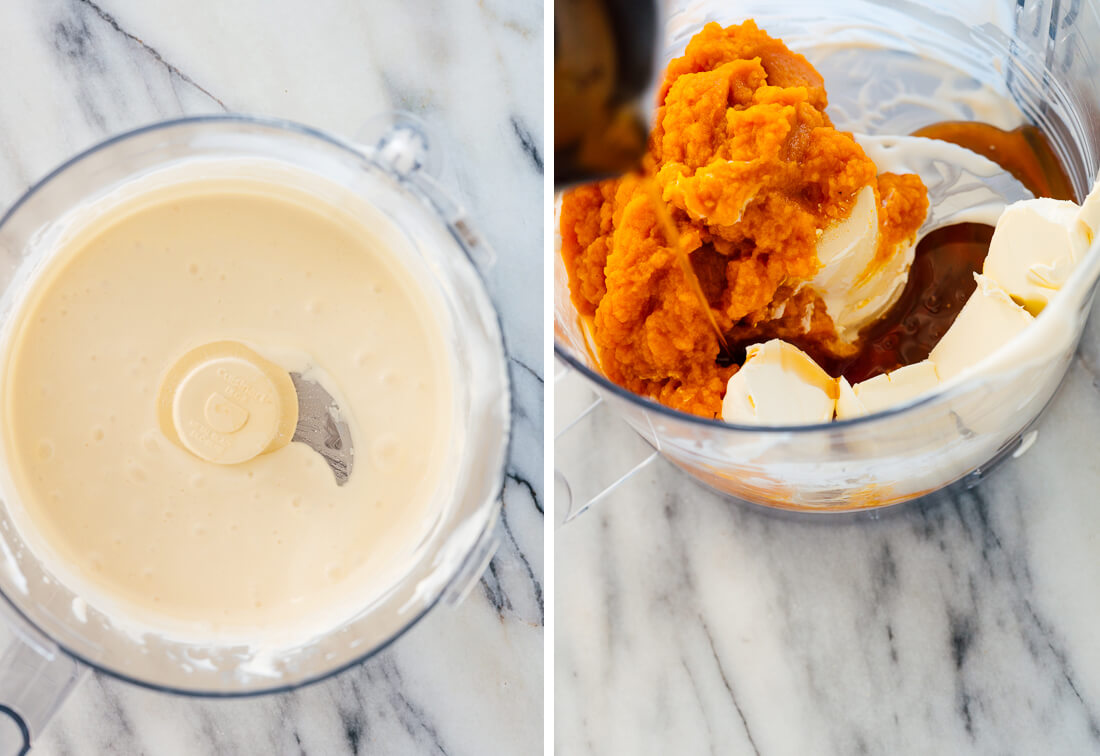 ingredients (cream cheese, pumpkin puree, and maple syrup)