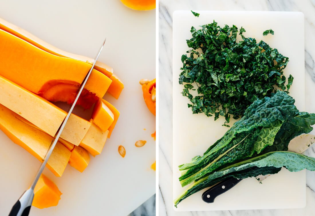 cubed butternut squash and chopped kale