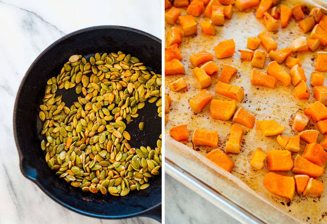toasted pepitas and roasted butternut squash