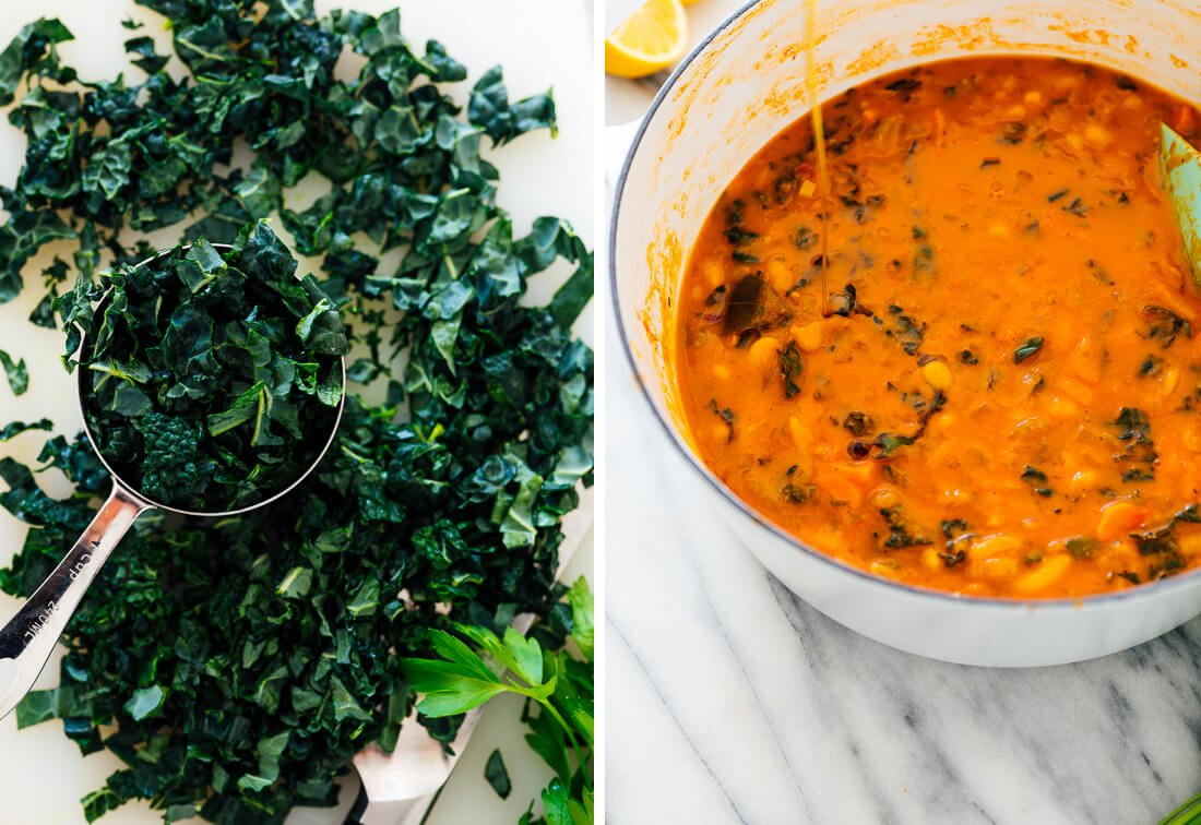 chopped kale and olive oil for soup