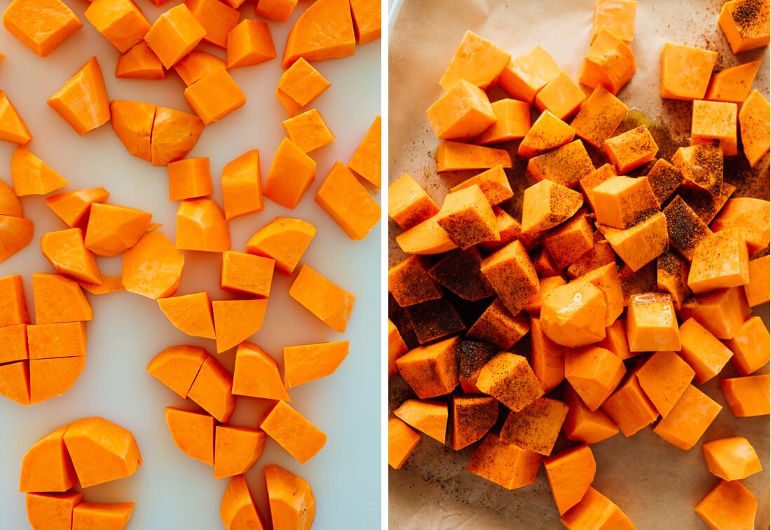peeled and sliced sweet potatoes