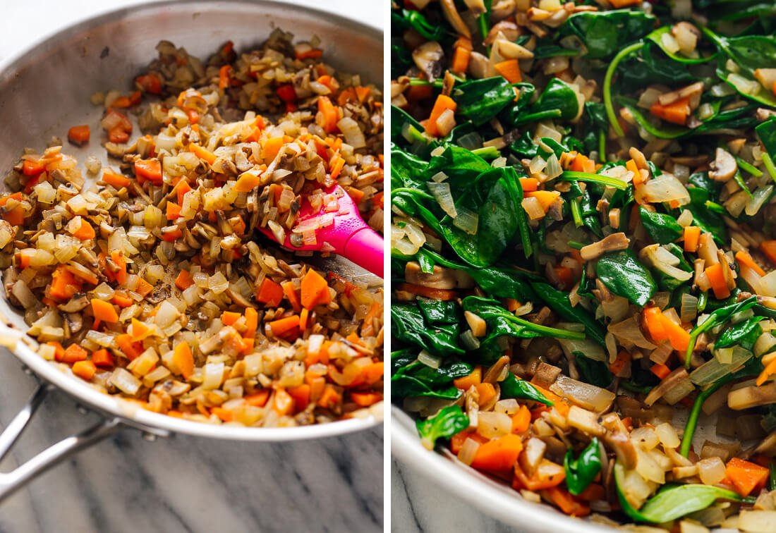 cooked vegetables and spinach