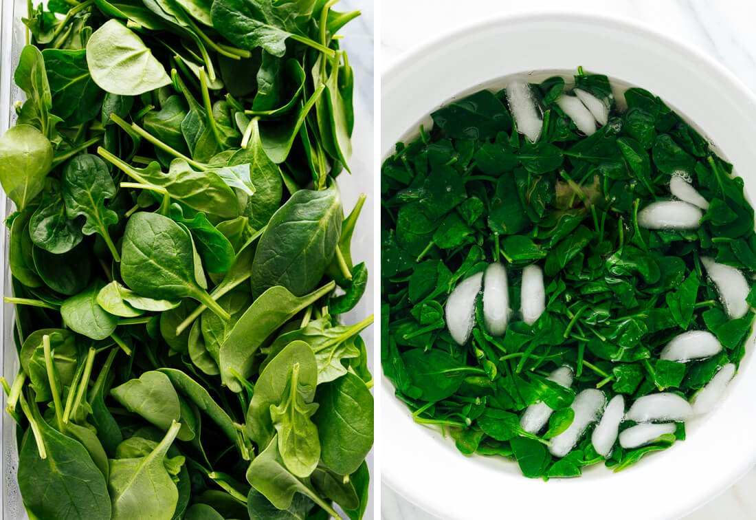 fresh and blanched spinach