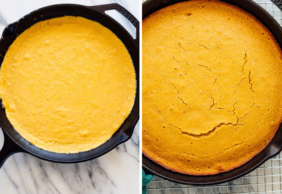 cornbread before and after baking