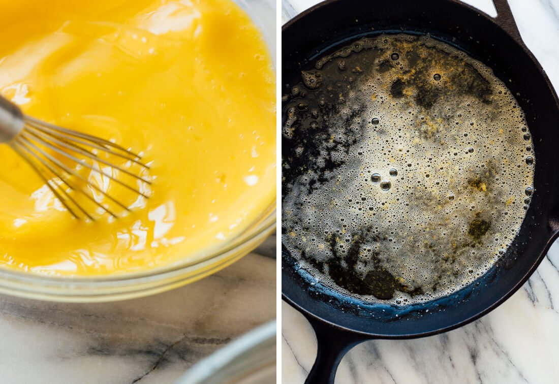 whisked eggs and browned butter