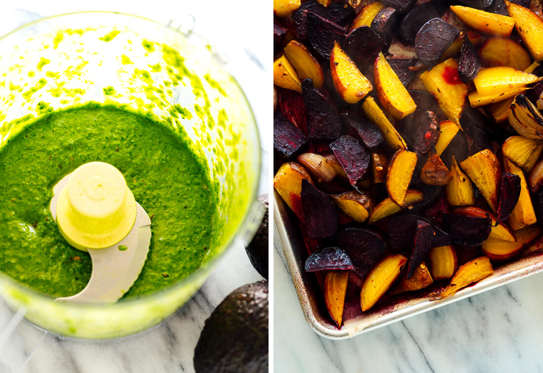 basil dressing and roasted beets