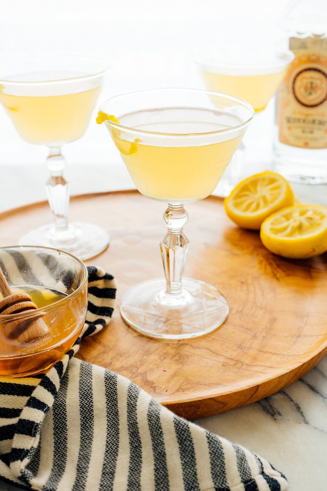 The bee's knees is a classic gin cocktail with lemon and honey