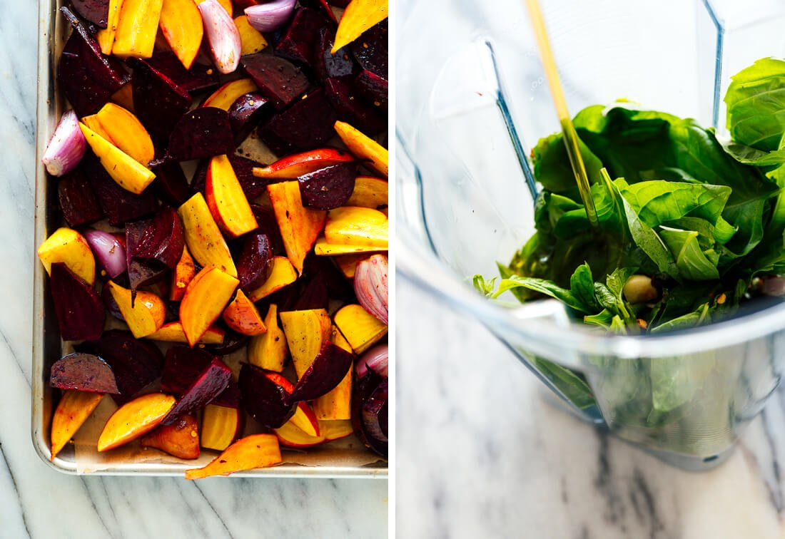 beets to roast and basil in blender