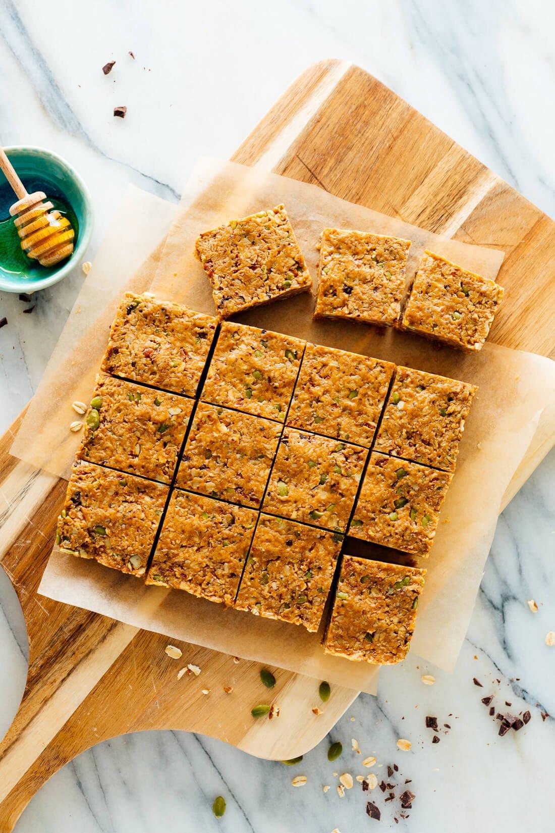 Barras de granola fáciles sin hornear