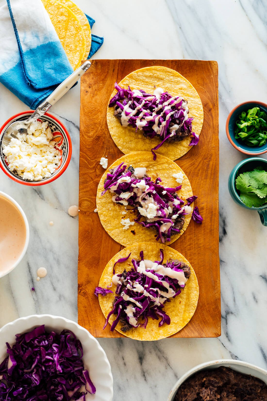 black bean tacos assembly