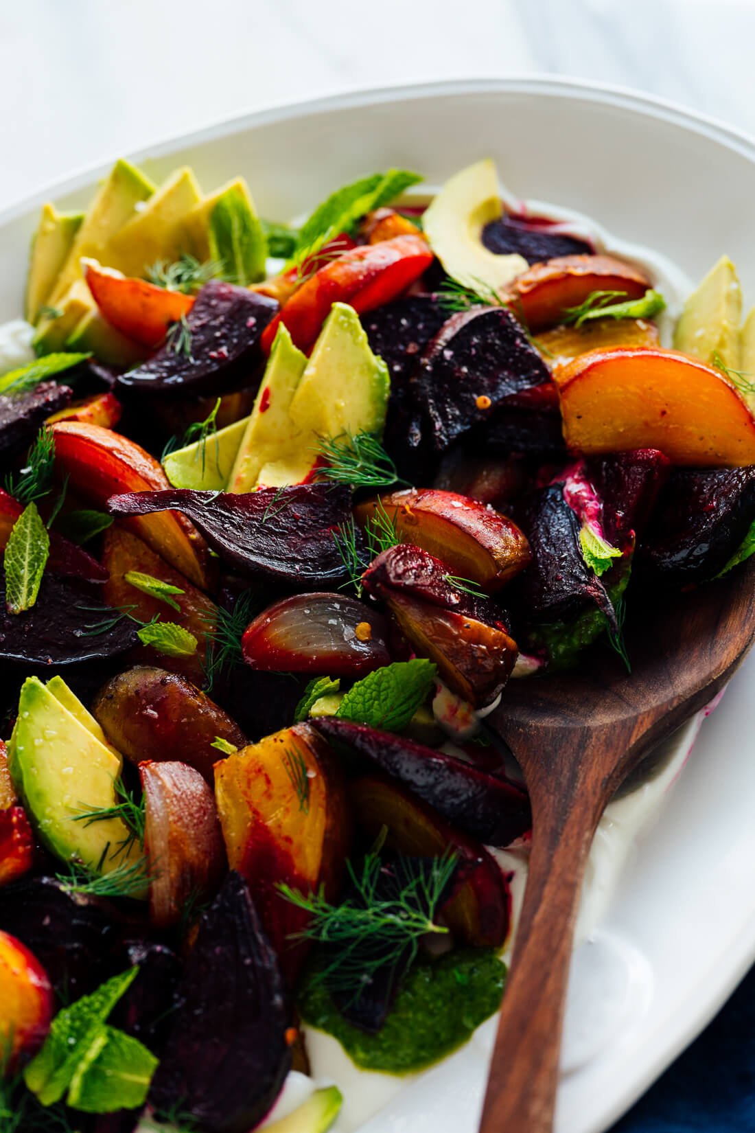 roasted beets with labneh from eat what you want cookbook
