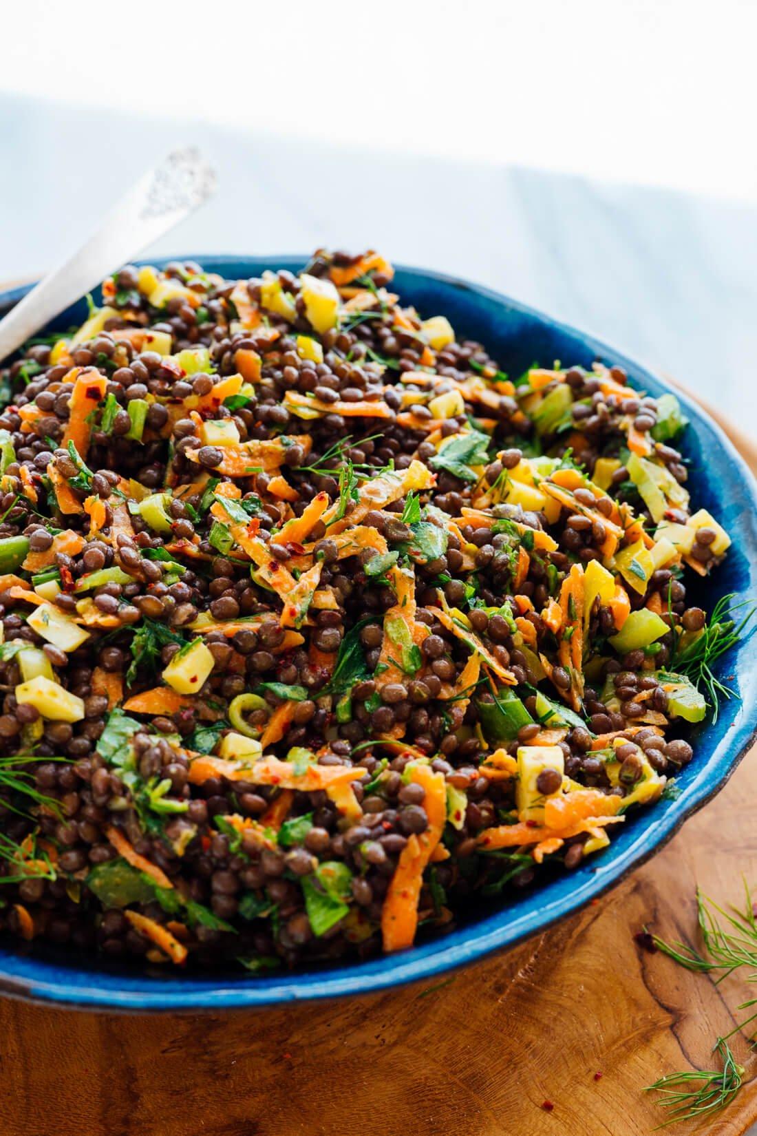 tangy lentil salad side angle