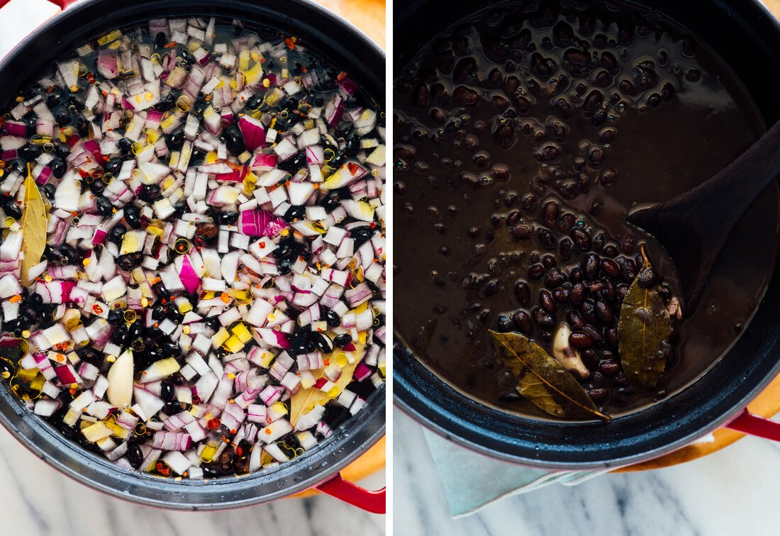 black beans before and after cooking