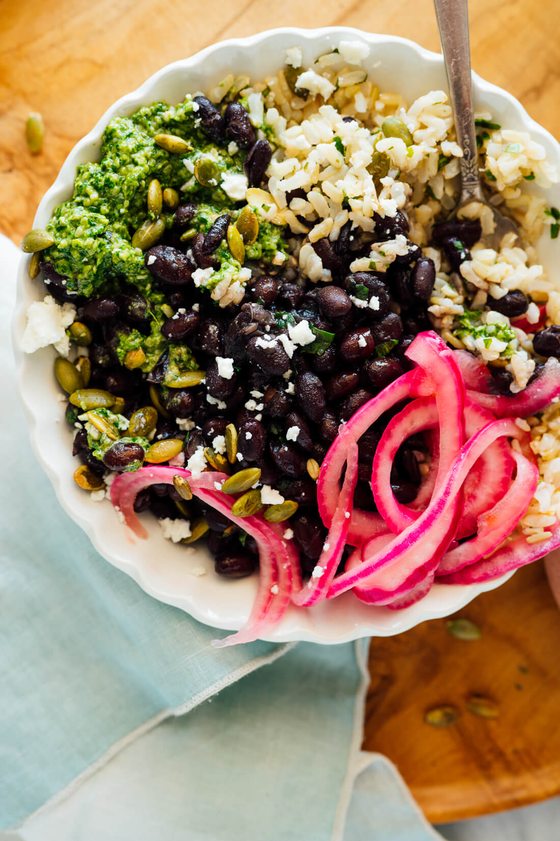 burrito bowl with cilantro hemp pesto