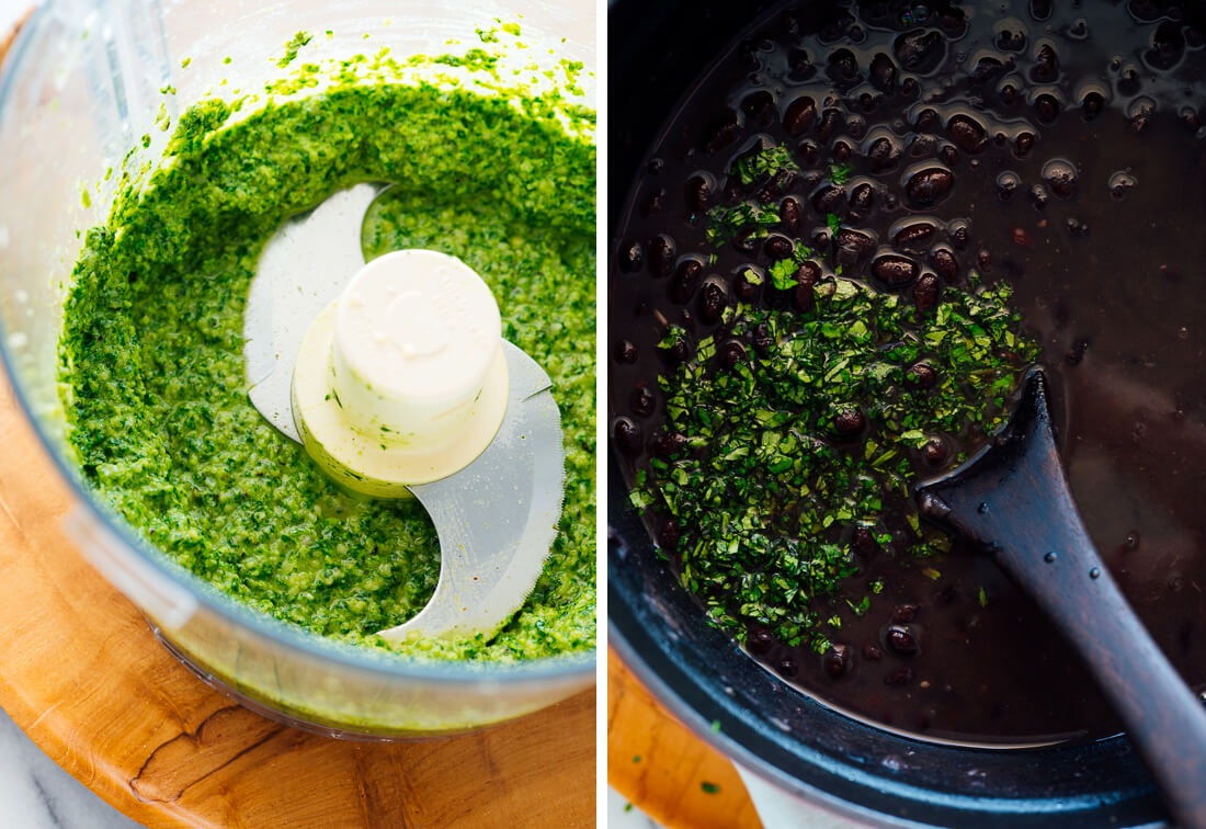 cilantro pesto and black beans