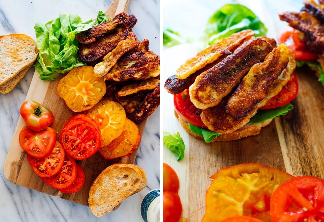 how to make vegetarian BLT sandwich