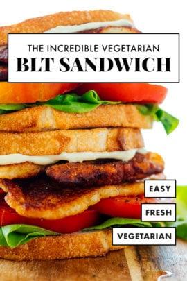 vegetarian BLT sandwich with halloumi cheese