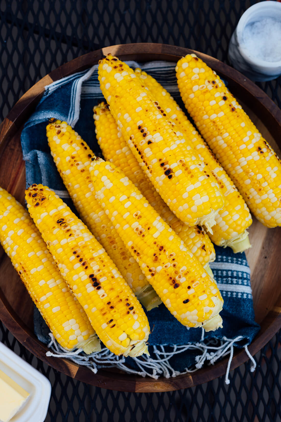 grilled corn on the cob with butter and salt on the side
