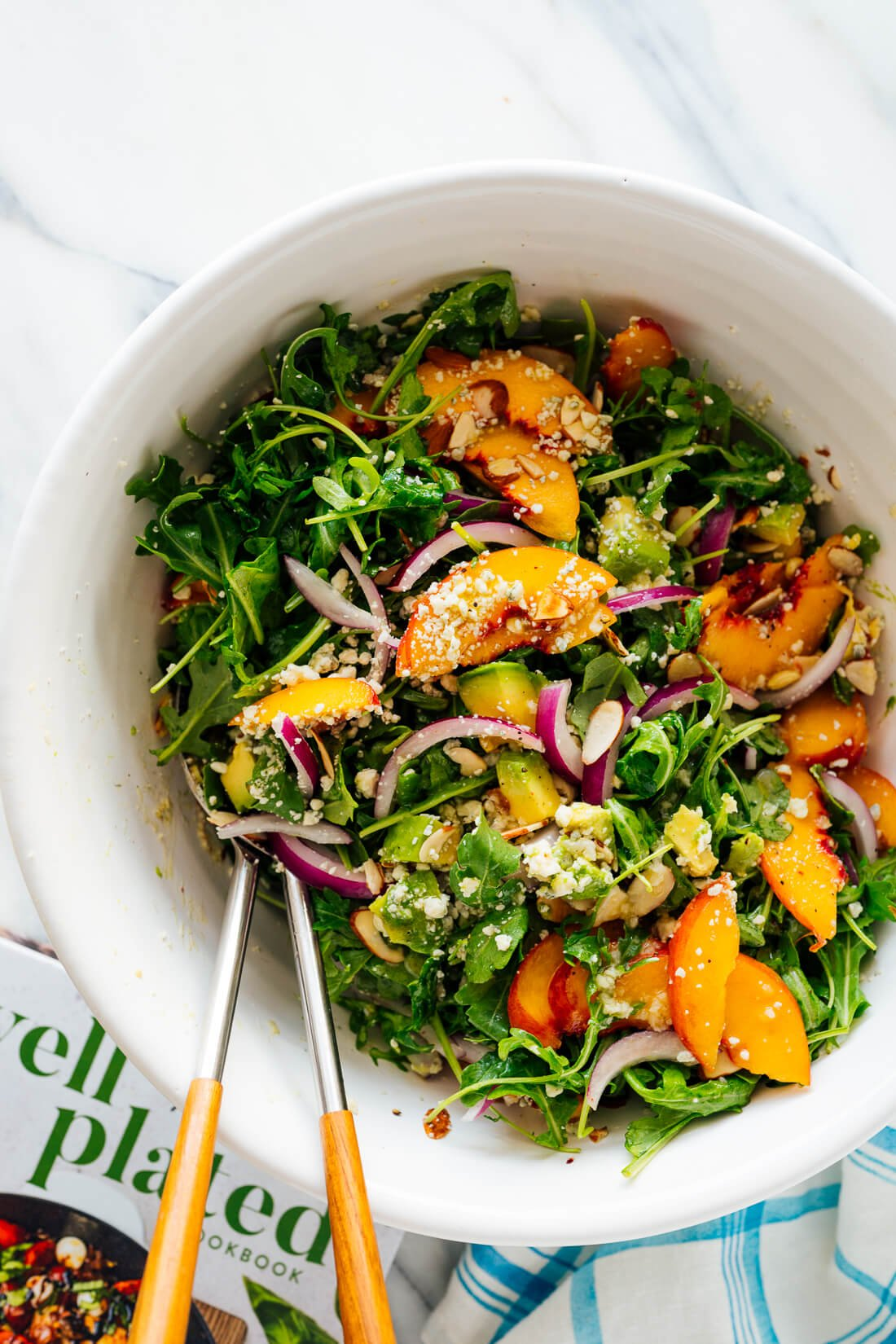 peach avocado green salad