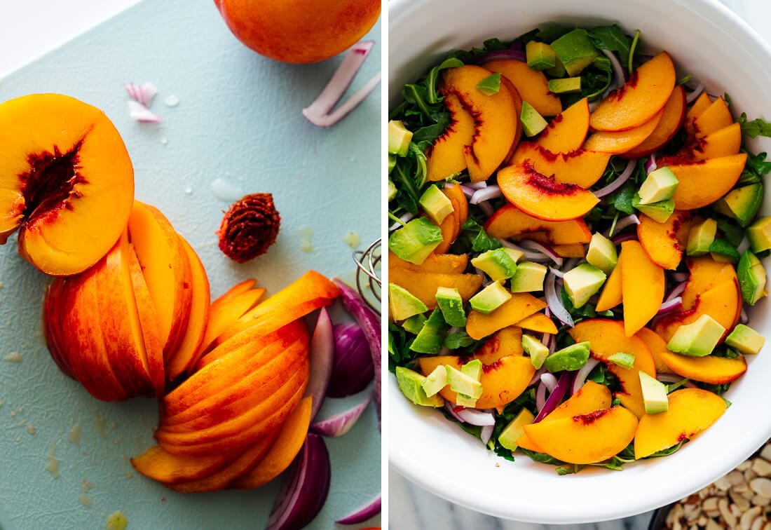 sliced peaches in salad
