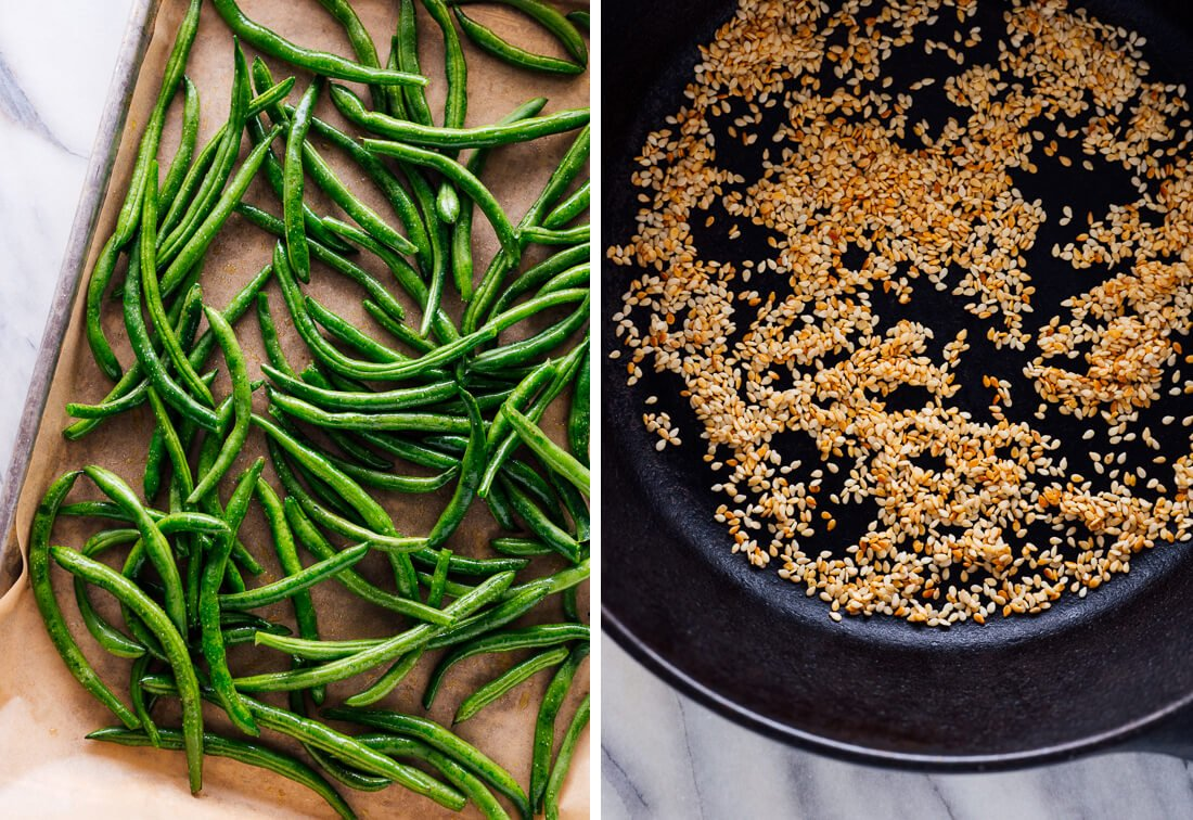 green beans and sesame seeds
