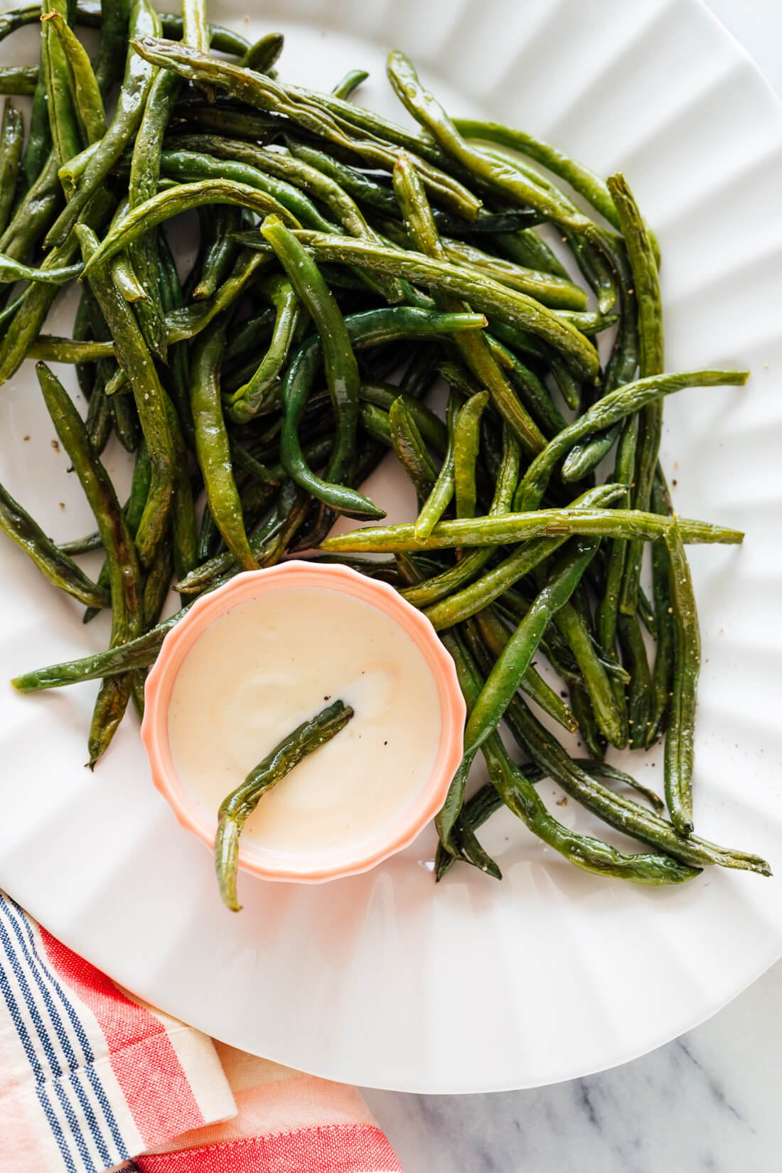 roasted green beans on serving platter