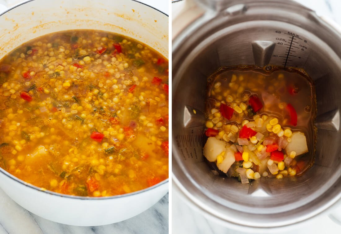 blending portion of corn chowder