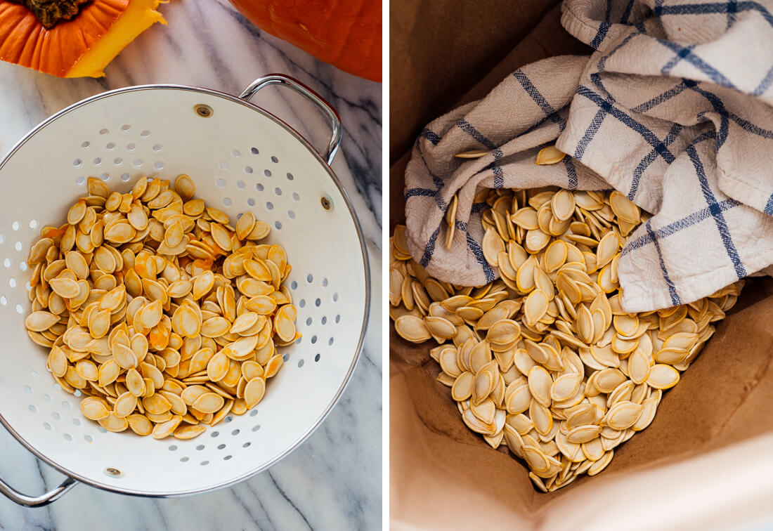 how to rinse and dry pumpkin seeds