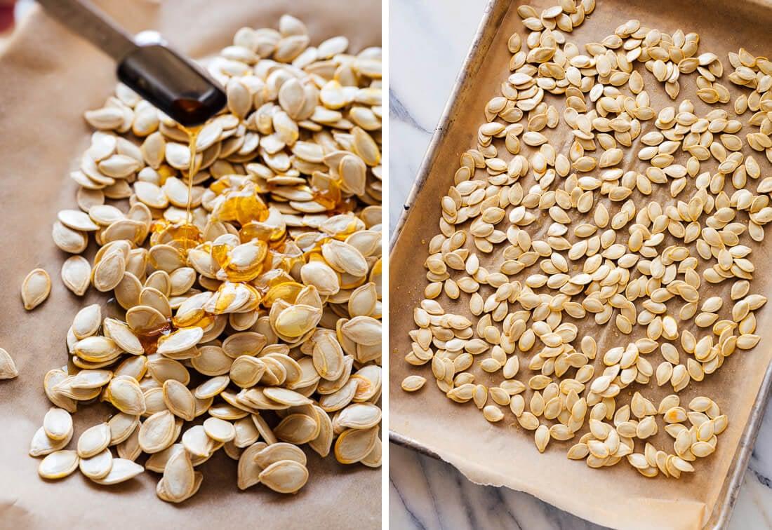 pumpkin seeds ready to roast