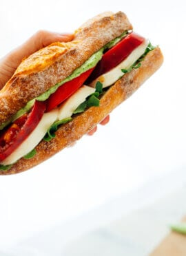 sandwich with tomatoes and mozzarella