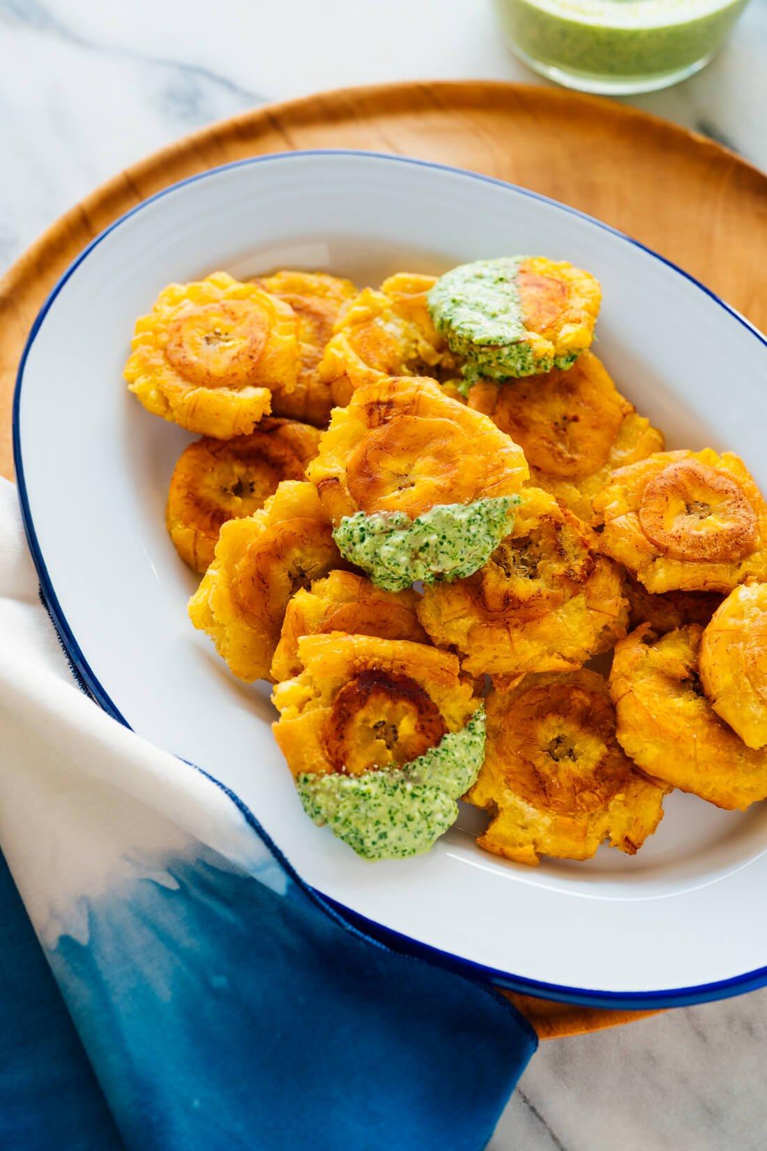 tostones with aji verde sauce