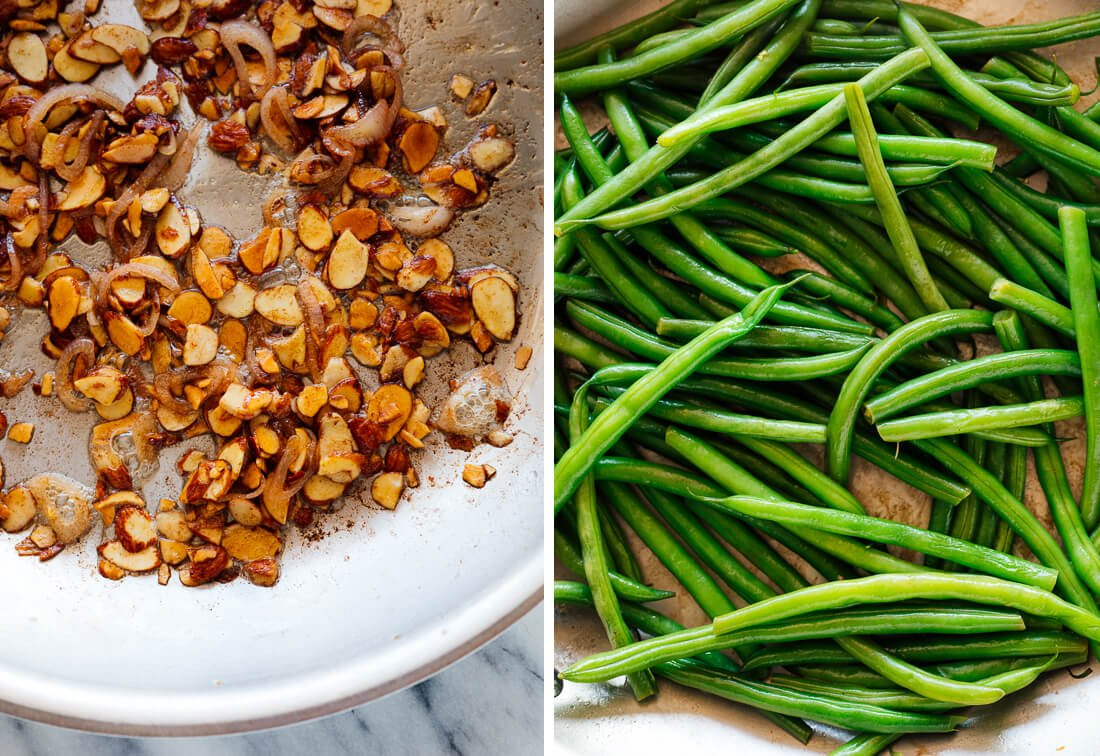almonds, shallots and green beans