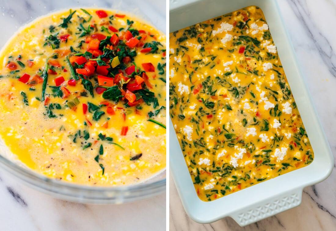breakfast casserole before baking