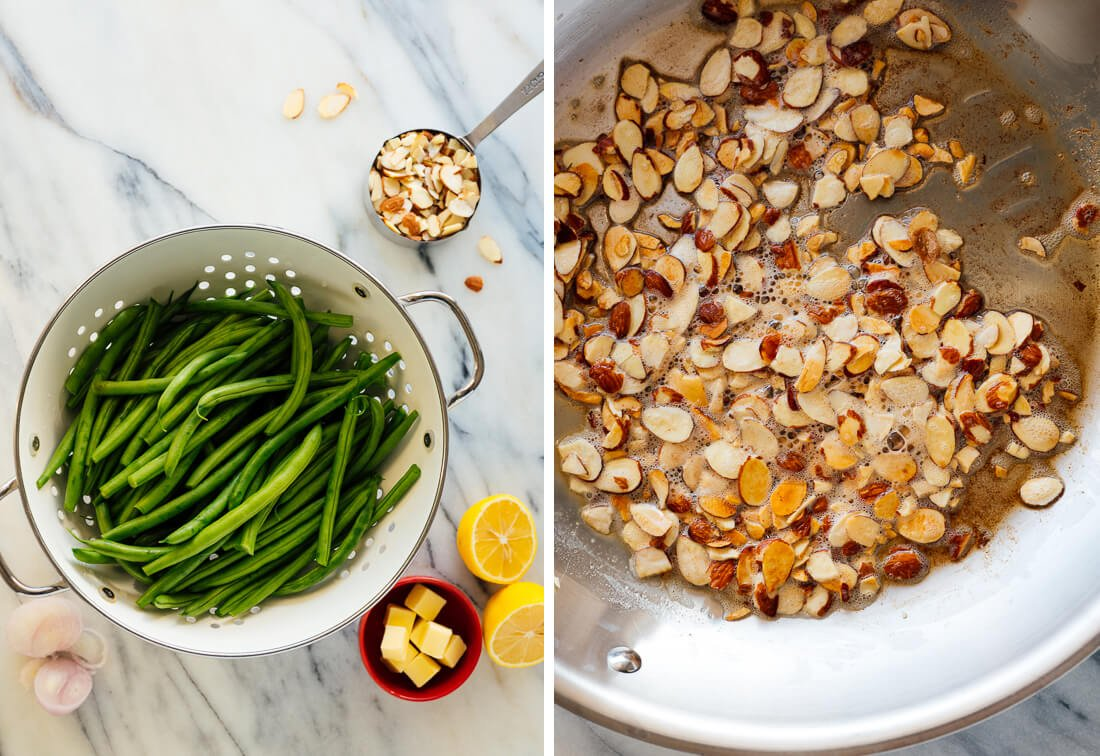 green beans and buttery almonds