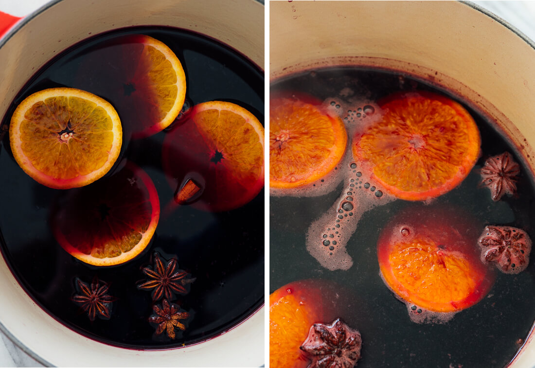 mulled wine before and after cooking
