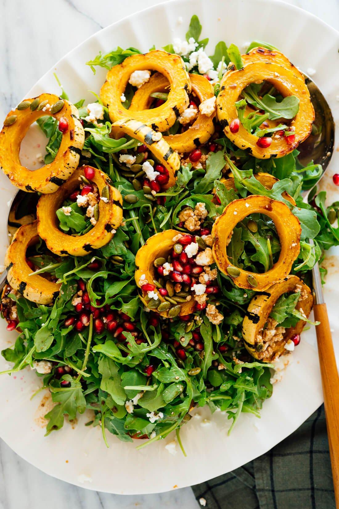 delicata squash salad with arugula pomegranate