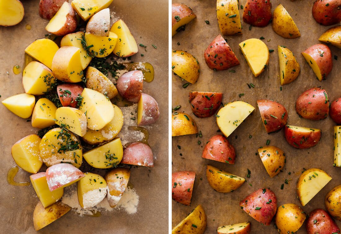 seasoned potatoes, before roasting