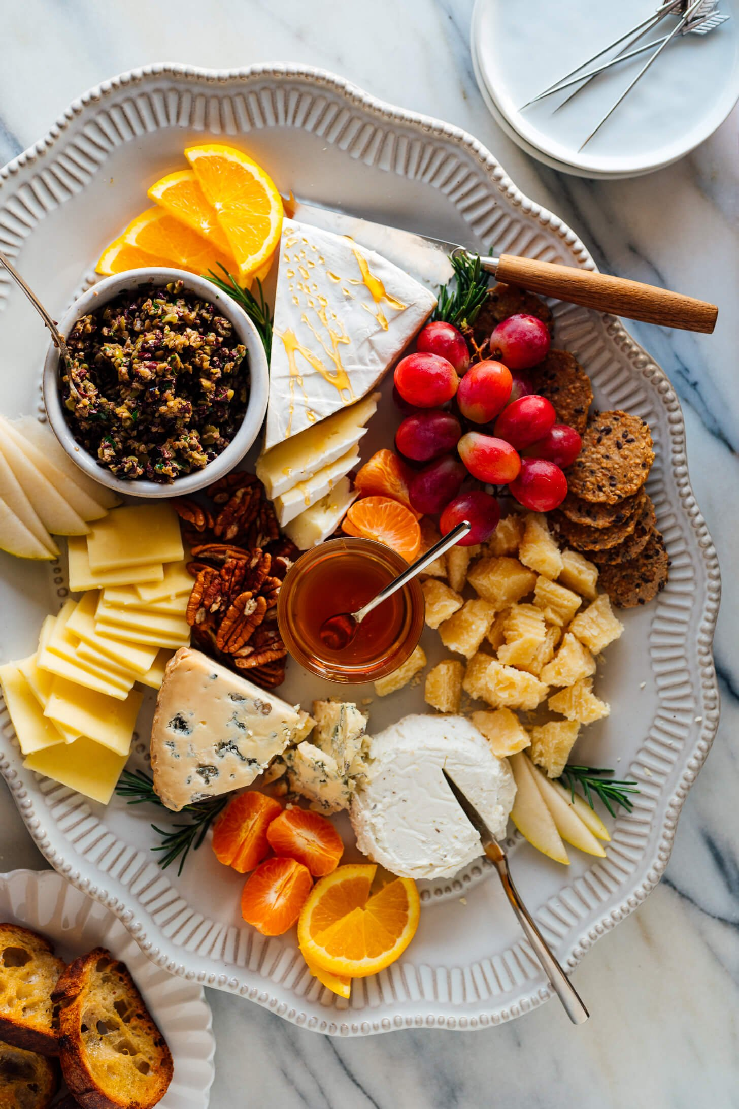 tapenade on cheese plate