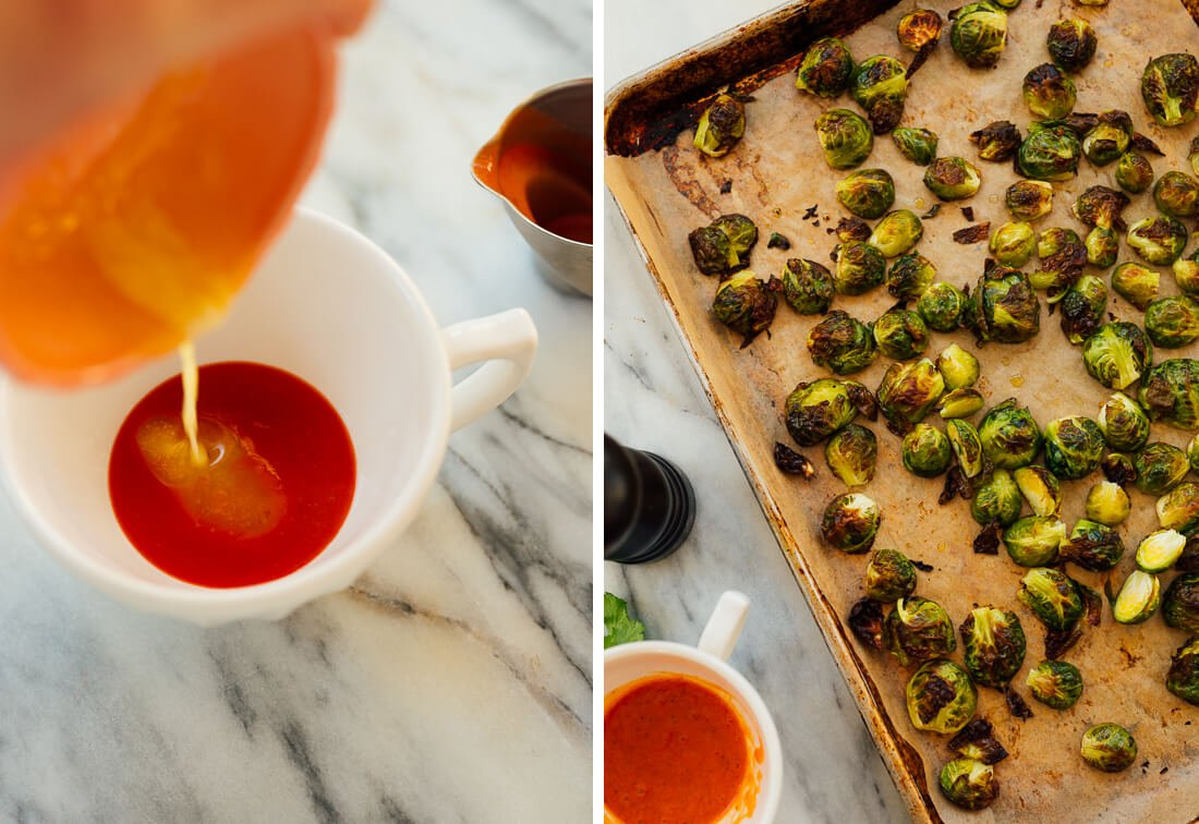 Buffalo sauce and roasted Brussels sprouts